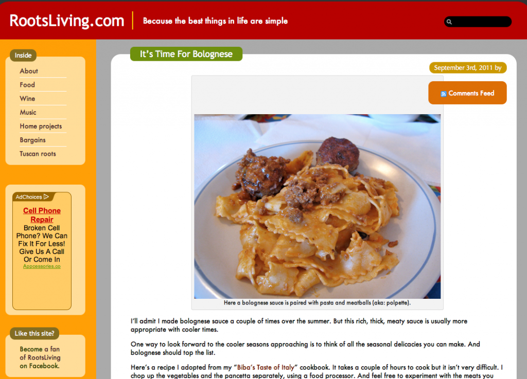 Screen shot of a food blog.