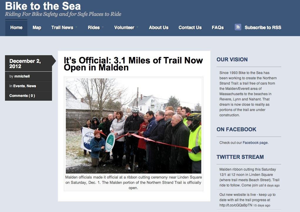 The homepage of the Bike to the Sea website.