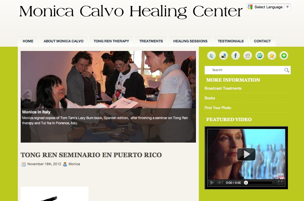 Homepage of the Monica Calvo Healing Center website.