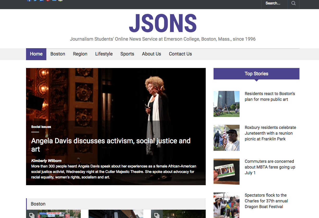 Screenshot of JSONS redesign